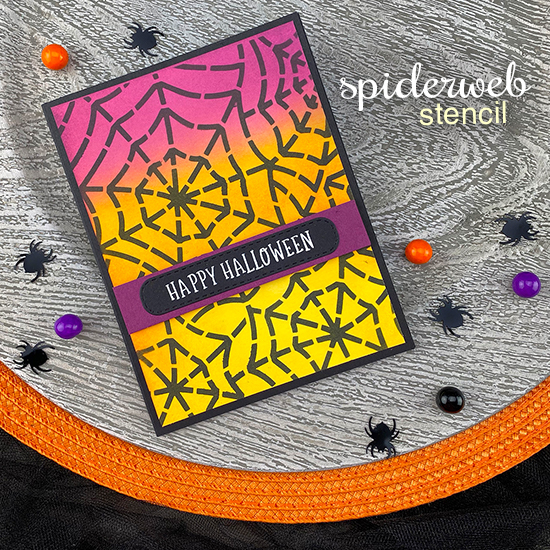 Happy Halloween Spiderweb Card by Jennifer Jackson | Spooky Roundabout Stamp Set, Spideweb  Stencil and Banner Trio Die Set by Newton's Nook Designs #newtonsnook #handmade