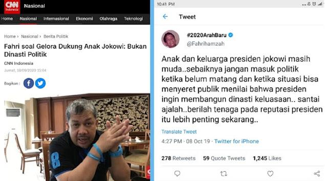 Partainya Dukung Anak Jokowi Bilang Bukan Dinasti Politik, Jejak Digital Fahri Hamzah Timbul Lagi