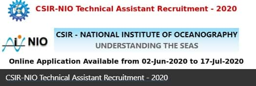 NIO Technical Assistant Vacancy Recruitment 2020