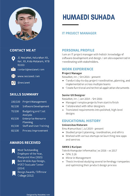Navy Blue and Black Professional Resume Office Word Template with Fonts