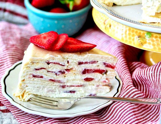 Strawberries and Cream Crepe Cake slice