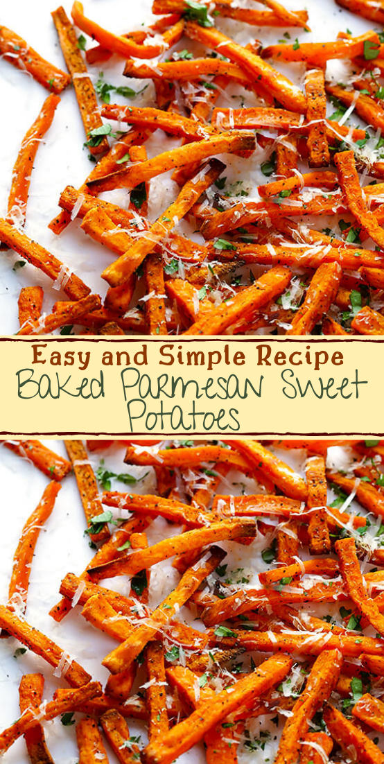 Baked Parmesan Sweet Potatoes #healthyfood #dietketo #breakfast #food