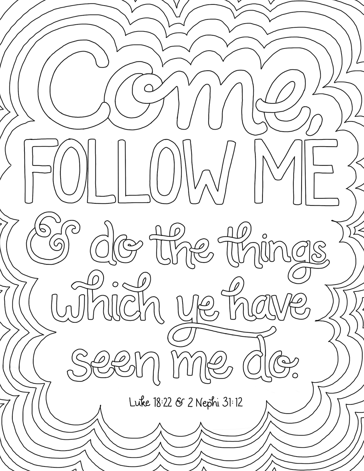 Come Follow Me Coloring Page