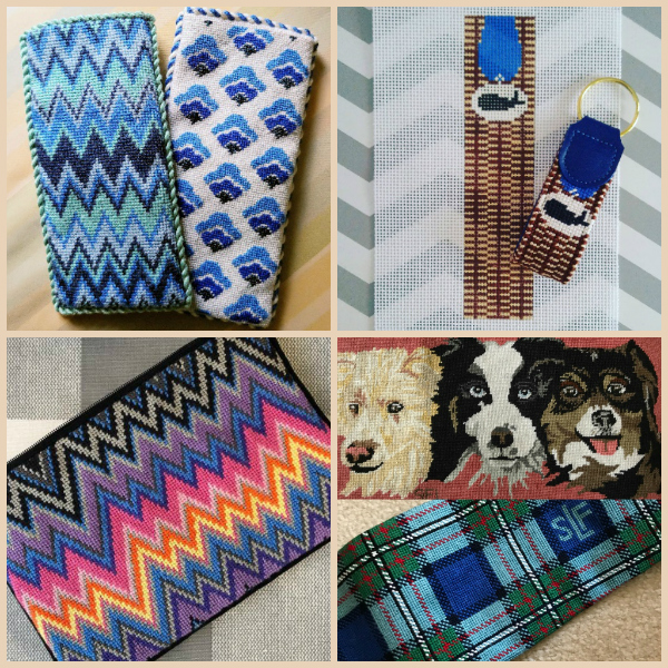 Needlepoint zigzag eyeglass cases, whale keyring, zip pouch, dog commerband