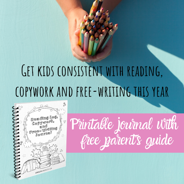 Printable kids reading log, copywork and free writing journal with free parent's guide
