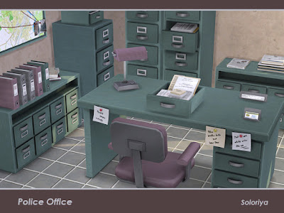 Police Office Отделение полиции для The Sims 4 Создайте свой собственный офис полиции с этим набором. Включает в себя 12 предметов, имеет 3 цветовых вариации. Предметы в наборе: - стол письменный - письменный стул - два шкафа - книжный шкаф - стол в прихожей - два вида жалюзи - настольная лампа - два декоративных ящика - криминальная стена. Автор: soloriya