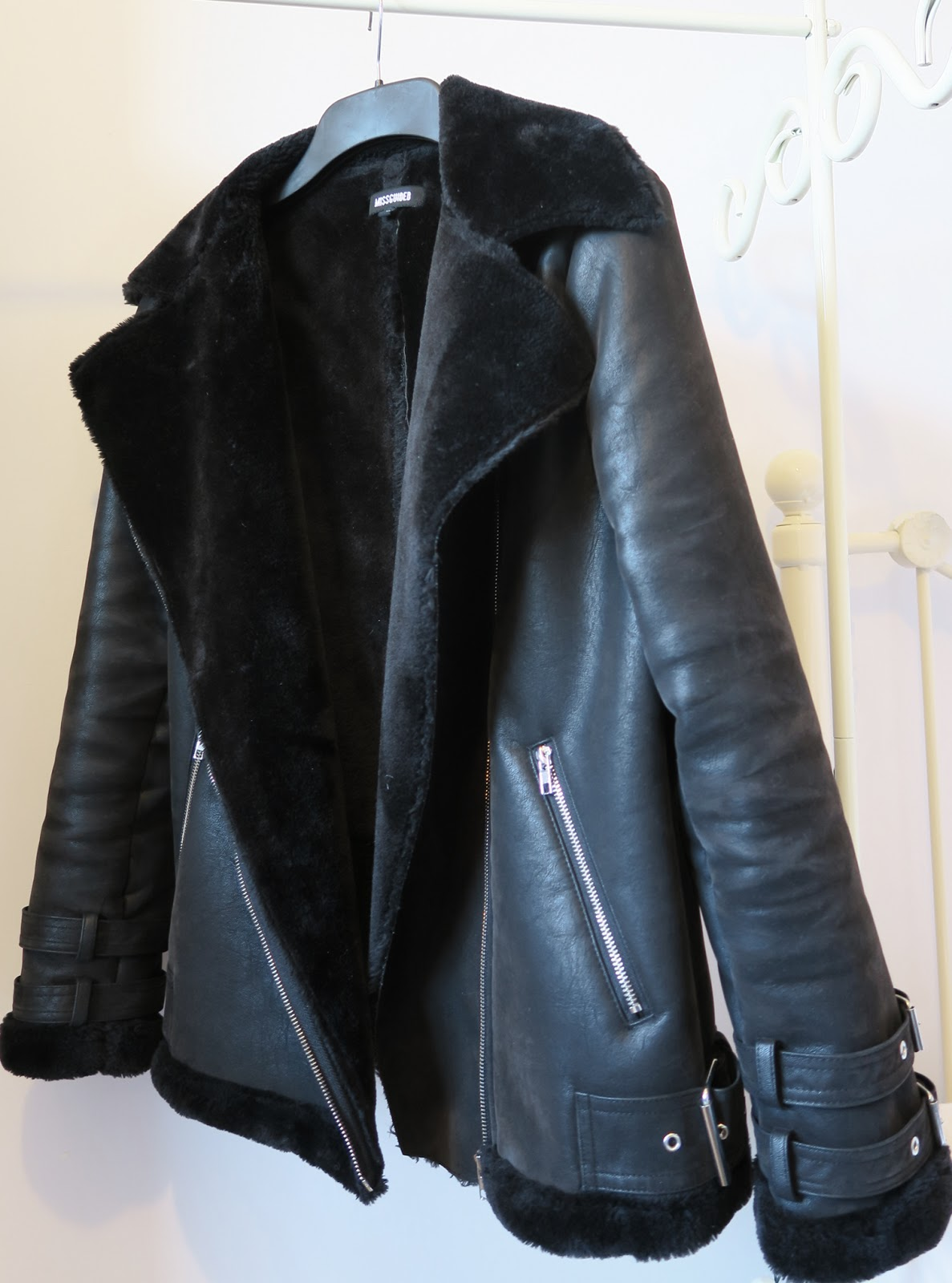 black faux shearling jacket