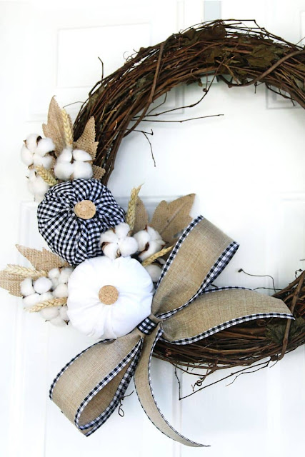 Plaid Fabric Pumpkin Wreath Fall DIY