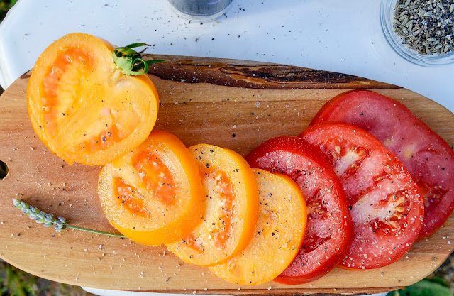Ripe Tomatoes with Lavender Salt and Pepper