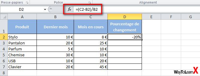Comment Calculer Des Pourcentages Dans Excel Waytolearnx