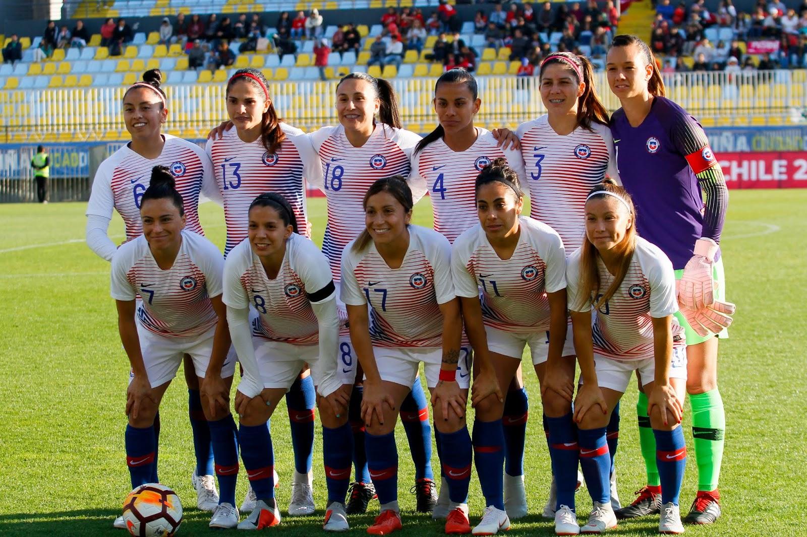 Formación de selección femenina de Chile ante Sudáfrica, amistoso disputado el 6 de octubre de 2018