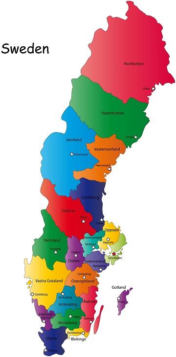 Kort Over Europa Billede Kort Over Sverige Land