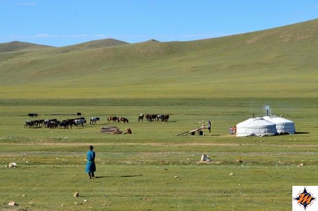 Famiglia nomade lungo la strada per Tsetserleg