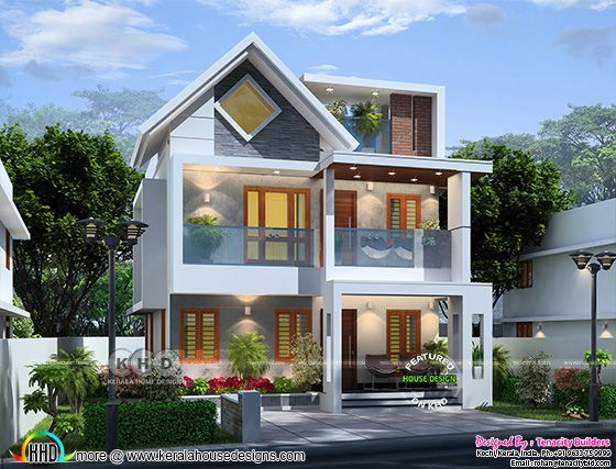 Mixed roof modern frosty house design