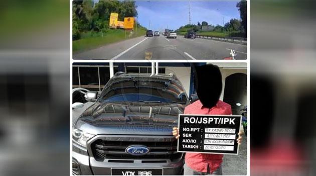 Padah menyondol penunggang motosikal, pemandu Ford Ranger VDX 3136 ditahan