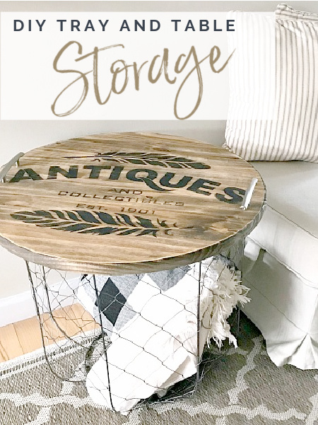 basket tray top table and pillows