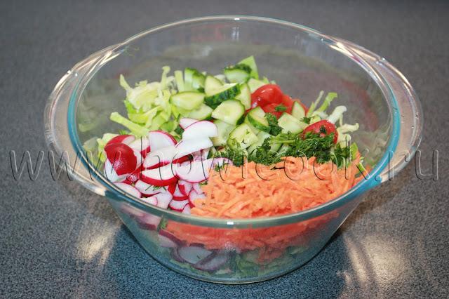 рецепт салата с редисом и капустой с пошаговыми фото