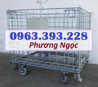 Lồng trữ hàng siêu thị, xe đẩy lồng lưới, lồng chứa hàng có bánh xe, lồng lưới gập