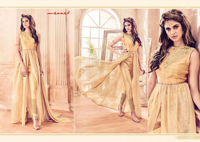 Golden Color Pent Style Party Wear Salwar Suit