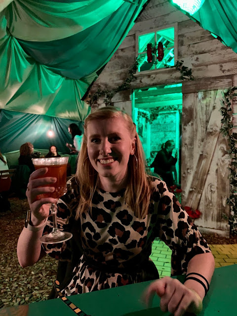 Inside the Wigwam at the emerald city themed rooftop bar, Queen of Hoxton