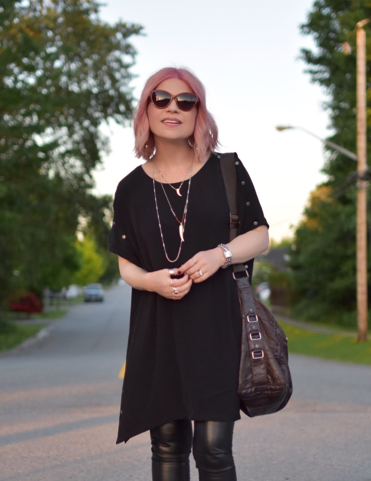 Monika Faulkner outfit inspiration - Aritzia tunic dress, vegan leather leggings, sunglasses, matt & nat bag