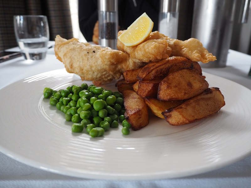 Fish and chips at the Scalloway Hotel