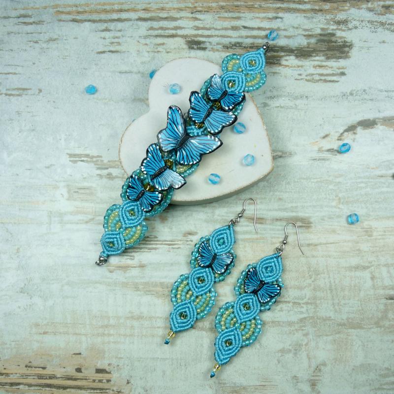 85965475bfc2 Turkusowy komplet biżuterii handmade - motyle