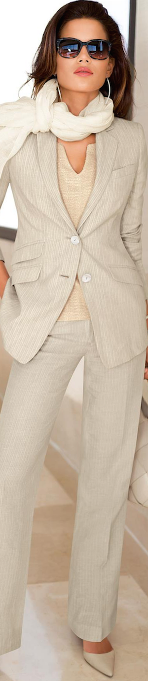 Madeleine Pure Linen Suit in Natural/Striped
