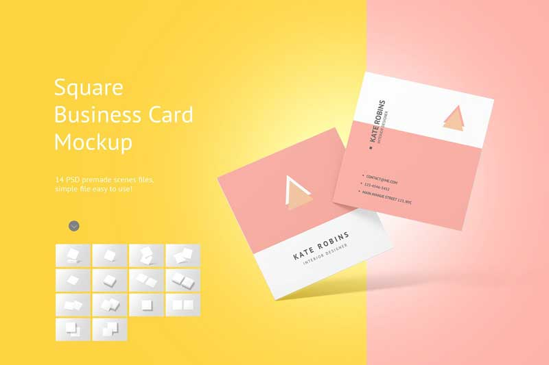 Square Business Card Mockup 4566160 Psdly