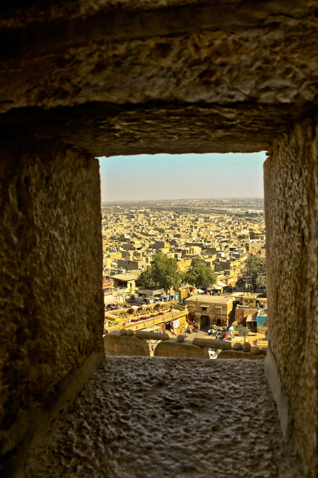 View of the city from a window at the Fort of Jaisalmer