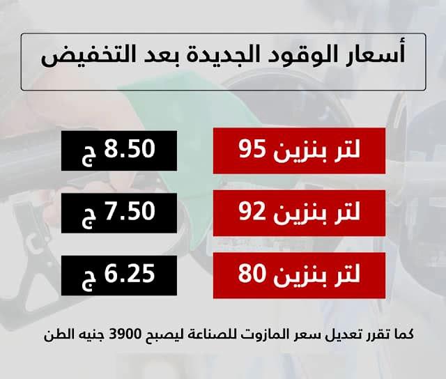 اسعار البنزين الجديدة بعد تخفيضها