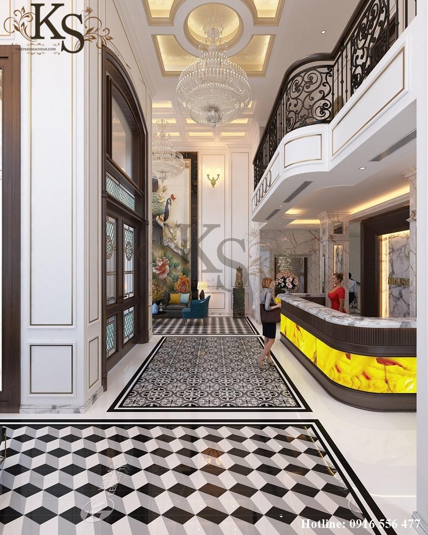 Hình ảnh: Gạch lát sàn mang hai màu sắc tương phản cùng các hoa văn cổ điển, các khối hình học trừu tượng đem đến sự cuốn hút cho thiết kế nội thất khách sạn 9 tầng.