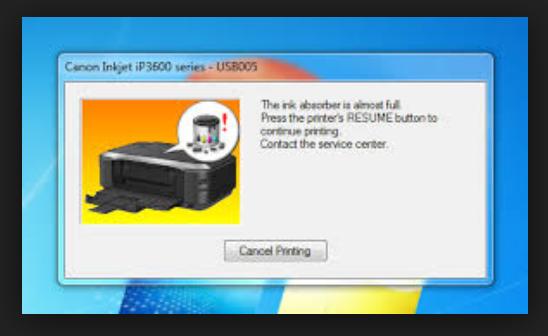 dikarenakan hosting gambar kemarin terjadi suatu dilema Mengatasi The ink absorber is almost full Canon IP3680