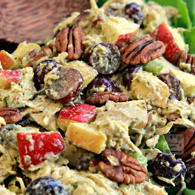 The perfect summer salad bursting with delicious sweet and savory flavors from apples and grapes, crunchy pecans and shredded chicken all smothered in creamy pesto mayo combo!