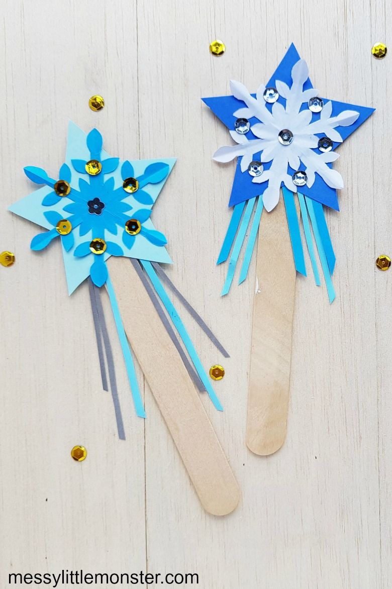 Elsa wand snowflake craft for kids