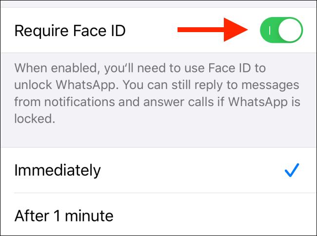 """قم بتبديل """"مطلوب Face ID""""."""