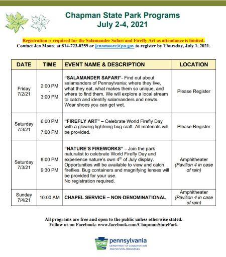 7/2-4 Chapman State Park Activites