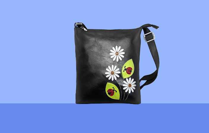 LAVISHY vegan bag with daisy & ladybug applique