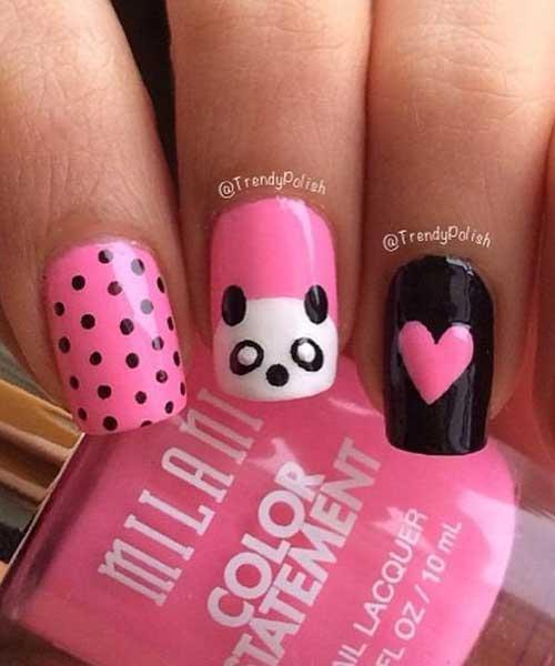 Panda Dots Nail Designs
