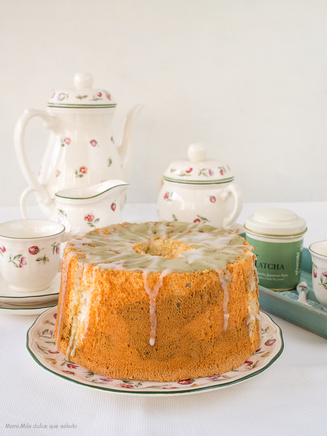 Angel Food Cake marmolado de Té Matcha