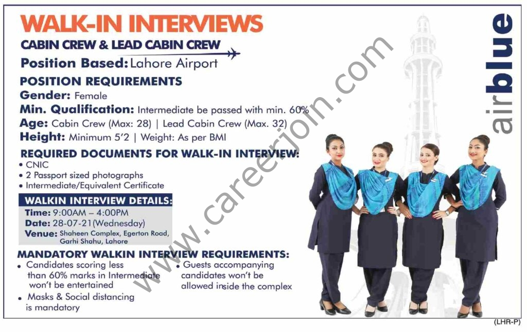 Airblue Jobs & Interview, July 2021  For All Pakistan