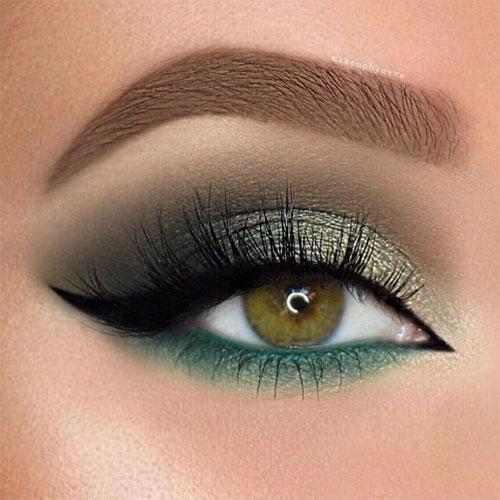 Maquillaje de ojos verdes con sombras verdosas