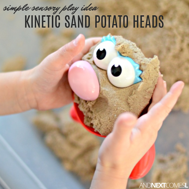 Simple Mr. Potato Head preschool activity using kinetic sand - great for toddlers too!