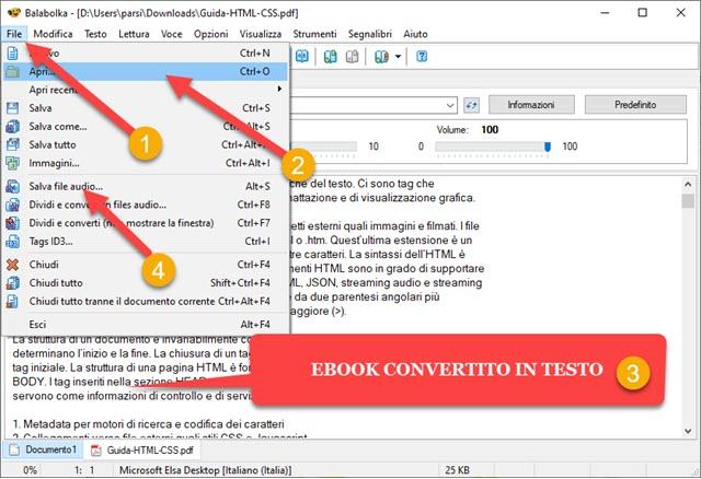convertire ebook in audio libri con balabolka