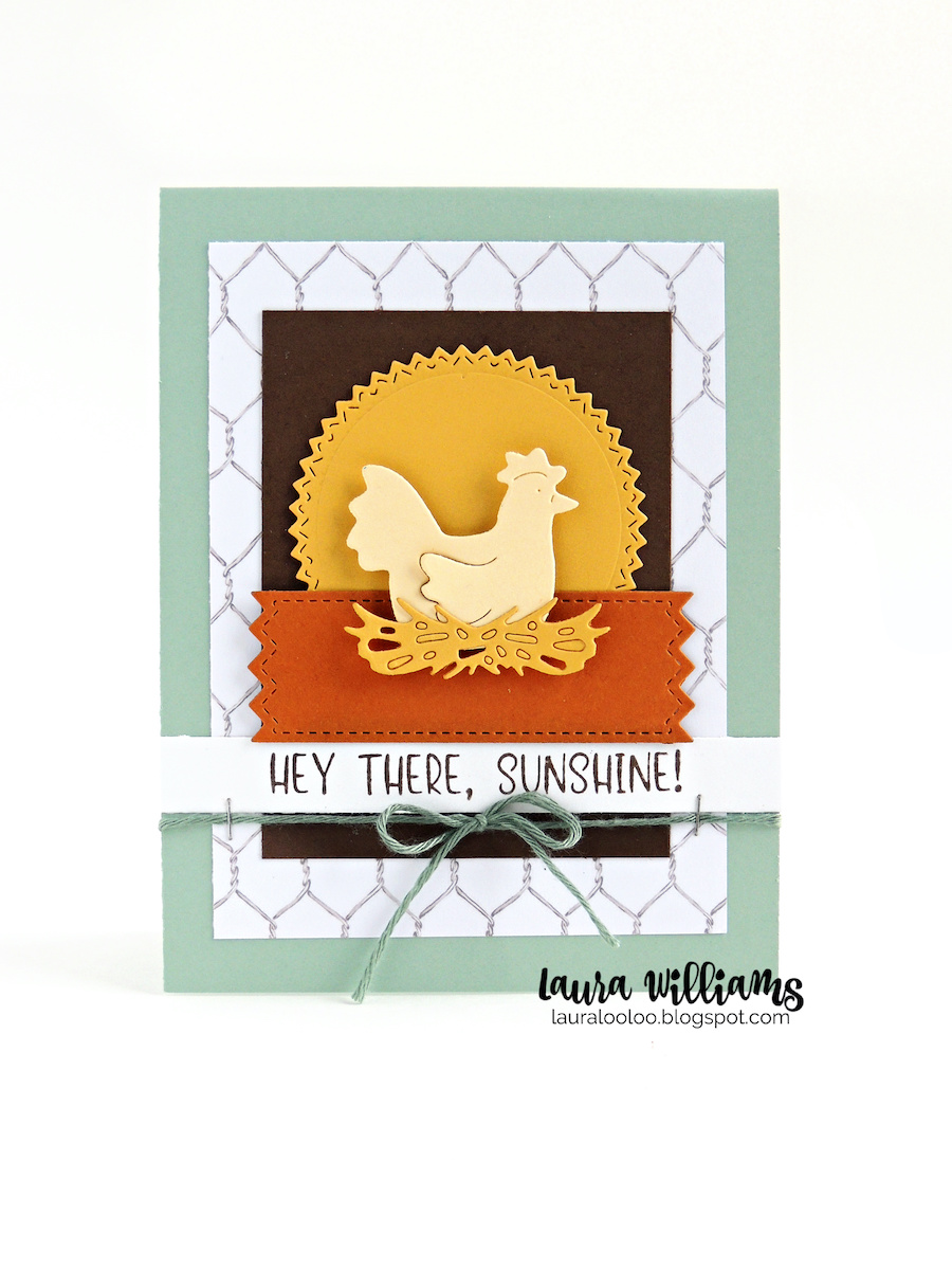 Hey there sunshine! Die cut chicken card in a farmhouse style. Visit my blog to see three country style card ideas with the Sitting Hen dies and stamps from Impression Obsession.