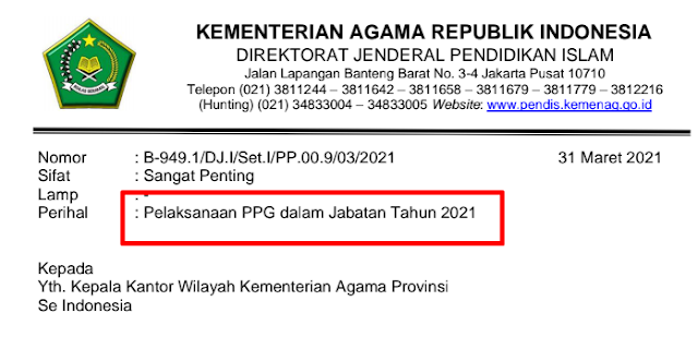 Kemenag Surat Edaran Pelaksanaan PPG dalam Jabatan Tahun 2021