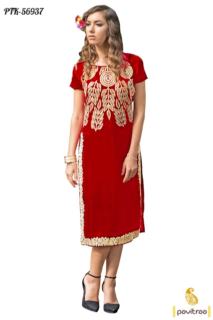 Valentiner day gift red color designer party wear kurtis dresses online shopping collection with cash on delivery in India