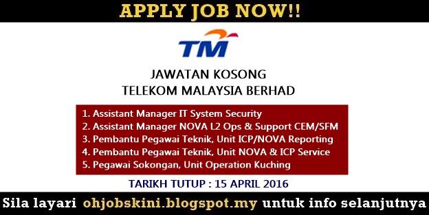 Jawatan Kosong Telekom Malaysia Berhad (TM)