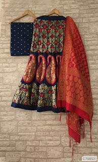 Designer Jacquard Woven Work Semi-Stitched Lehenga Sets