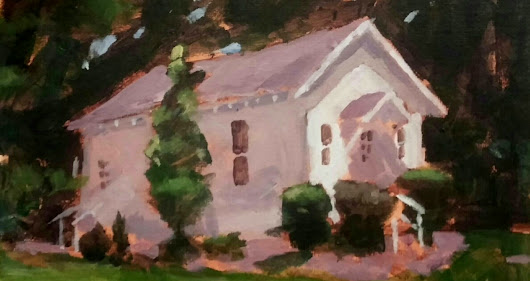 BRAD BISBEY: Meeting House. 11x14 acrylic on canvas.